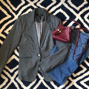 Heather grey jersey knit blazer
